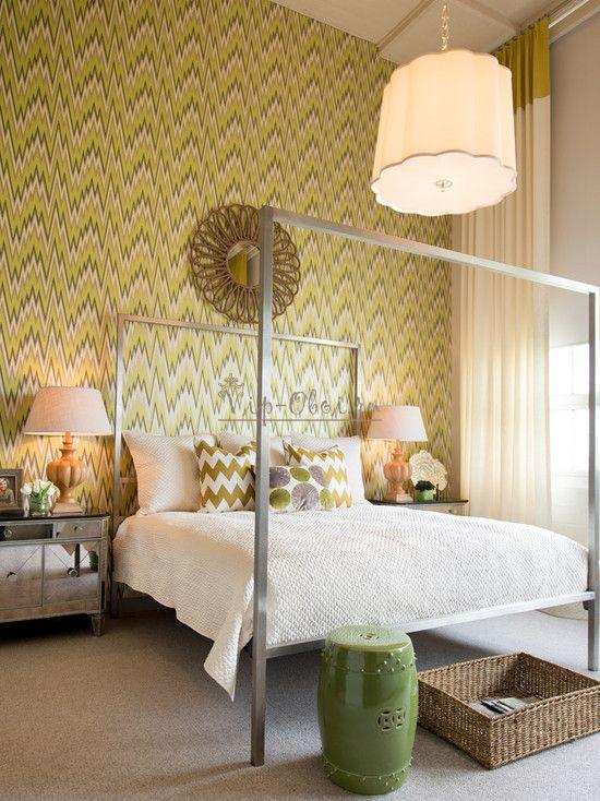 Яркие обои оливкового цвета в спальне