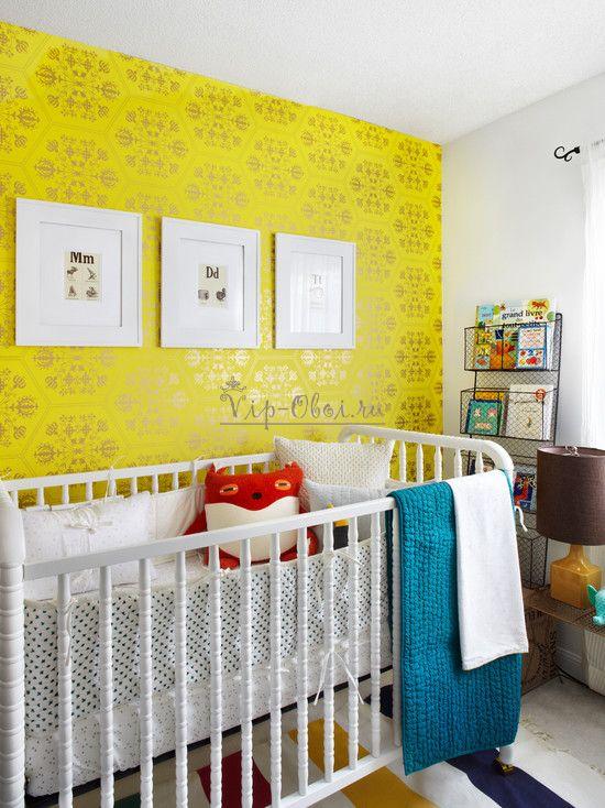 Жёлтые яркие обои для детской комнаты