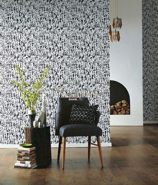 Обои Momentum-2 110358 марки Harlequin чёрно-белые для спальни