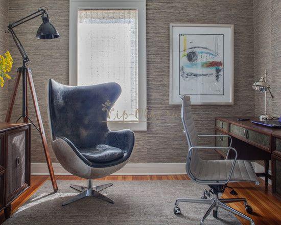 Серо-коричневые обои для домашнего кабинета