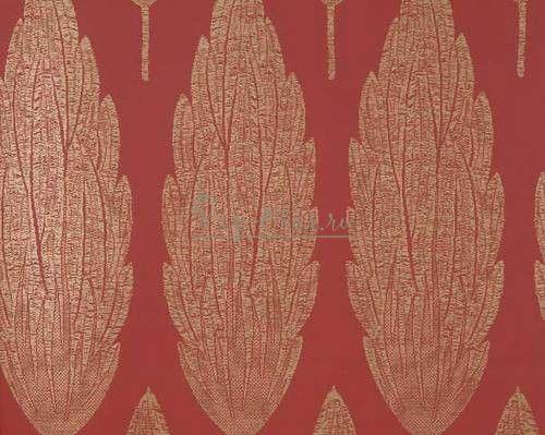 Обои Perroquet NCW3834-01-2 марки Nina Campbell красные с золотистым рисунком.