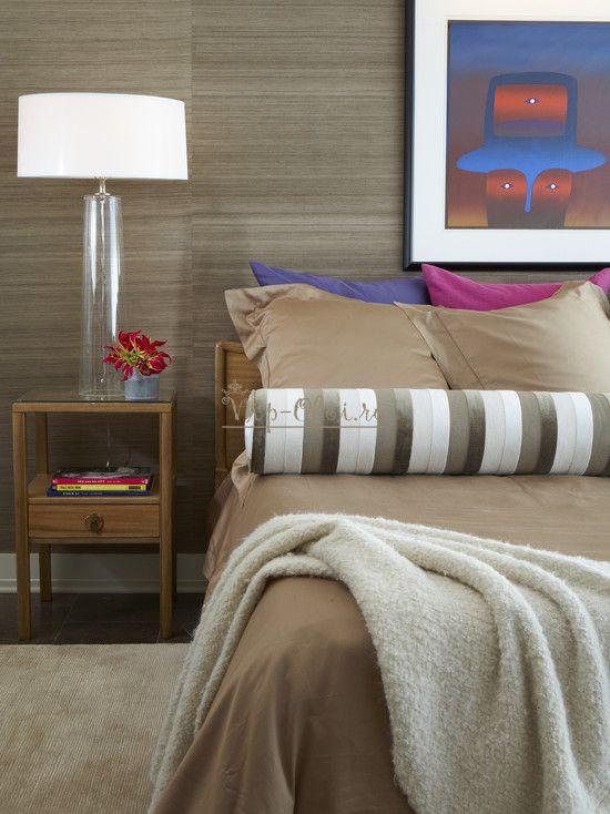 Серо-коричневые обои для спальни