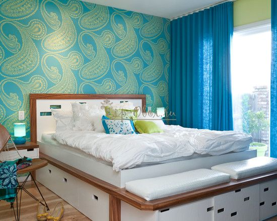 Бирюзово-зелёные обои для спальни