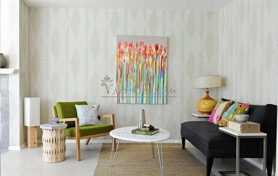Какой рисунок обоев увеличивает комнату фото