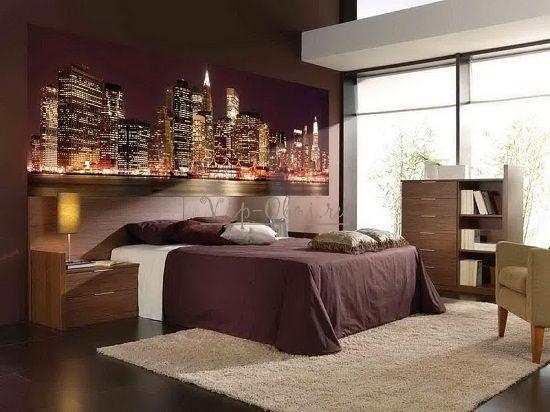 Ночь на обоях в спальне