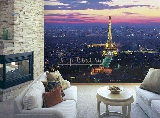Ночь на обоях с видом Парижа