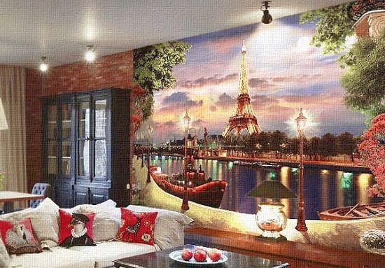 Ночь на обоях с достопримечательностью Парижа