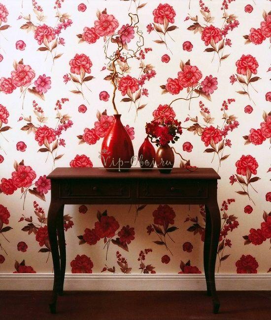 Обои с розами для стен красные