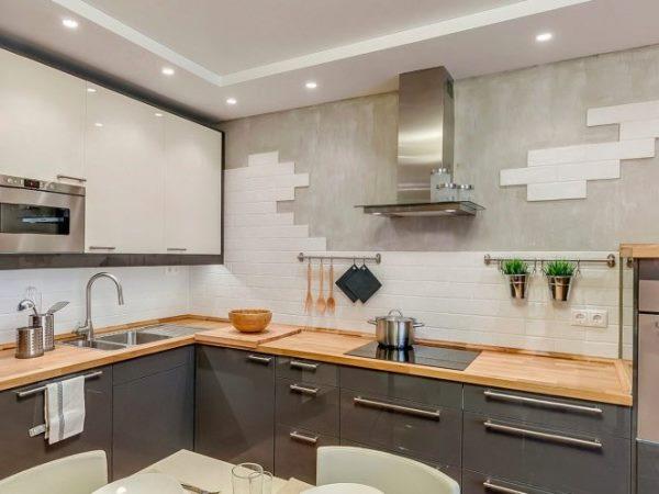 кирпичная стена на кухне - 2