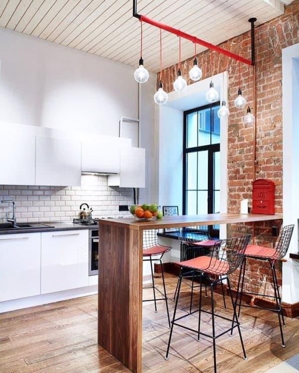 кирпичная стена на кухне - 5