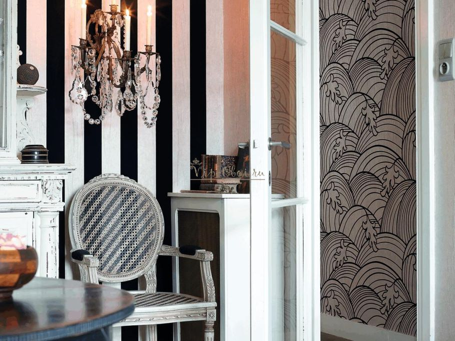 Чёрно-белые флоковые обои-компаньоны Bohemian 12000 бельгийской марки Arte