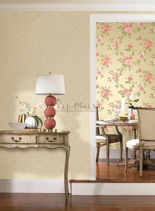 Оливковые обои Roses PN0475 с рисунком крупных розовых роз американской компании York Wallcoverings